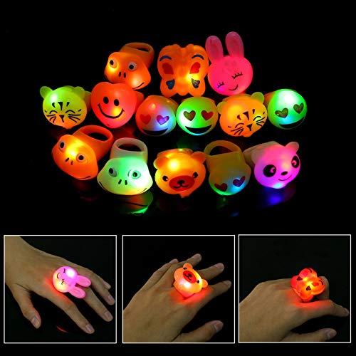 Herefun LED Blinkende Ringe LED-Leucht Spielzeug Finger Licht Partyartikel, Glow In The Dark Geburtstagsgeschenke Halloween Karneval Partyartikel Zubehör Jungen Mädchen (14 Pcs)
