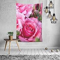 5月の誕生花 ピンクバラ タペストリー 壁掛け インテリア 多機能壁掛け ファブリック装飾用品 模様替え 部屋 窓カーテン 個性ギフト 新居祝い 152cmx102cm