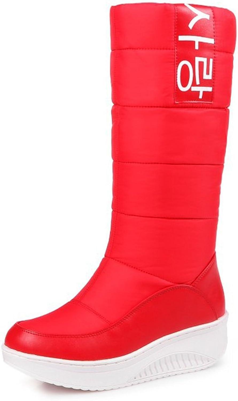 IDIFU Women's Warm Faux Fur Lined Mid Calf Snow Boots Wedge Heels Platform Down Booties