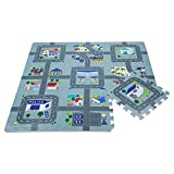Leo & Emma Rally Play Foam Floor Tiles For Kids - Interlocking Foam Mats - Soft Alternative To Police Race Track Rug - Set of 9 Large 32 x 32 cm Pieces - Perfect Hot Wheels Mat - TÜV tested