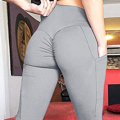 QingYu - Fitness-Dreiviertel-Hosen für Mädchen in Pocket Gray, Größe L