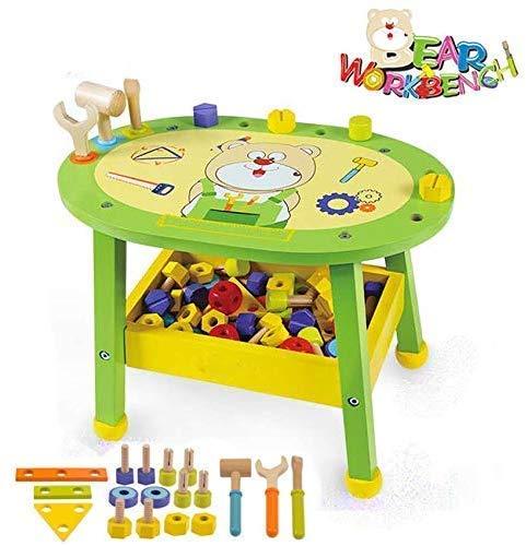 Kinder-Werkbank aus Holz Bär Meisterwerkstatt |Preisgekrönte Kid Holzwerkzeug Bench Toy Pretend Play Creative Building Set, Massivholz-Spielzeug Workbench Inklusive Werkzeug Baukasten zcaqtajro