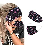 Jeairts Boho Bandeau Headbands Button Hair Bands Elastic Fabric Truban Head Wraps with Mouth Cover Non Slip Head Scarfs Stylish Yoga Hair Accessories for Women and Girls (Black Butterfly)