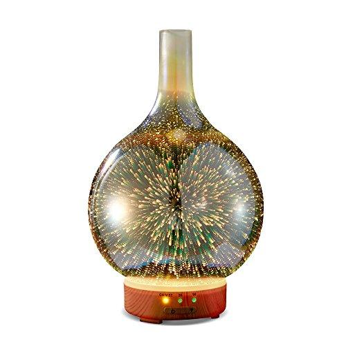 KGV 3D Ultraschall Glas 7 Farben LED Diffusoren für ätherische Öle, Aroma Diffuser Luftbefeuchter, Vernebler Duftlampe Öle Diffusor mit Wasserlose Abschaltautomatik & Timer für Geruchsaroma Raumparfüm