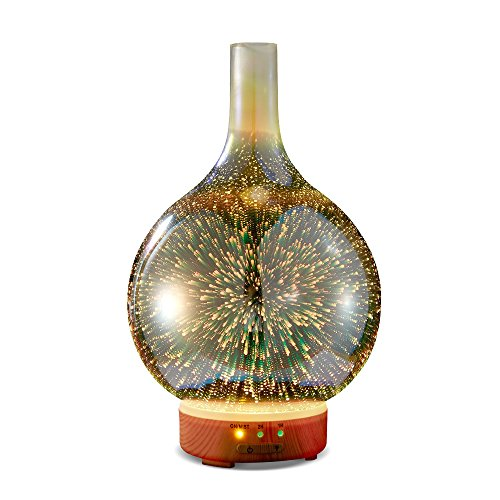 Essential Oil Diffuser - KGV 3D Glass Cool Mist Ultrasonic Aroma with BPA Free, Night Mood Led Light, Safe Auto Shut-off and Timer. 100ml Essential Oil Aromatherapy for Large room Gift Yoga Home