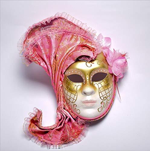 MSSJ Máscara Veneciana de Halloween Pintada con Flores de Cara Completa para Fiesta de Disfraces, máscara Femenina