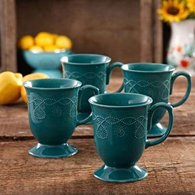 Set of 4, Beautiful Design, Transparent Glaze, Cowgirl Lace Mug Set, Teal