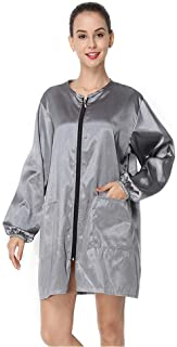 Women'S Dress Long Sleeve Workwear O Neck Wind Jacket Apron Hairdressing Waterproof Workwear