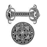 P Prettyia 2X Broche de Símbolo Vikingo Medieval Retro Broche de Capa Celta Cuello de Hebilla Pin