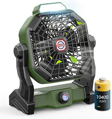 Outdoor Camping Fan with LED Lantern and Hook Portable Fan Rechargeable 10400mAh Battery Operated product image