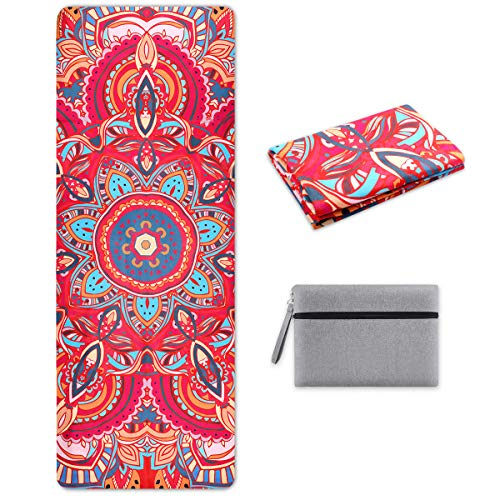 SKL Travel Yoga Mat - Foldable 1/16 Inch Thin Hot Yoga Mat Non Slip Sweat Absorbent Fitness & Exercise Mat for Yoga, Pilates, Floor Exercises, Coming with Carrying Bag (Colorful - Arab Fashion)