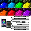 MICTUNING RGB Car Interior Lights, Upgraded 2-in-1 Design 4pcs 48 LED Strip with APP and Remote, Music Sync Waterproof Multicolor Under Dash Lighting Kit with Car Charger DC 12V