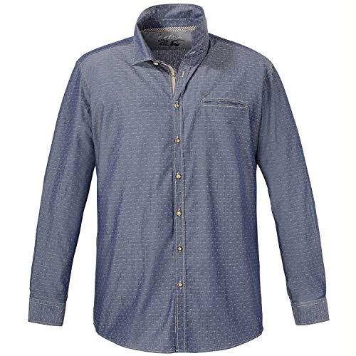 Jupiter Hemd Übergrößen Herren Baumwoll-Trachtenhemd mit Allover-Print, Langarm dunkelblau_130/1 7XL