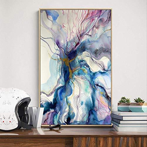 Groot formaat stof canvas poster print moderne abstracte aquarel woonkamer decoratie schilderij goedkope canvas ruimteschip print 60x90cm