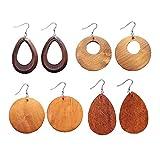 Kiwochy 4 pares étnicos hechos madera aretes mano con gancho acero inoxidable joyería de madera natural aretes de...