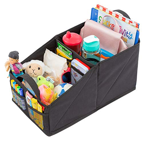Premium Front & Backseat Car Organizer | Heavy Duty Back Stitching - 9 Clutter-Free Seat Storage Pockets | Easily Keep Seats & Floors Organized & Clean w/Supply and Toy Organizers for Kids & Adults