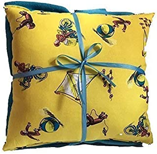 Curious George 14 inch by 14 inch Pillow and Solid Color Fleece Blanket Set Handmade