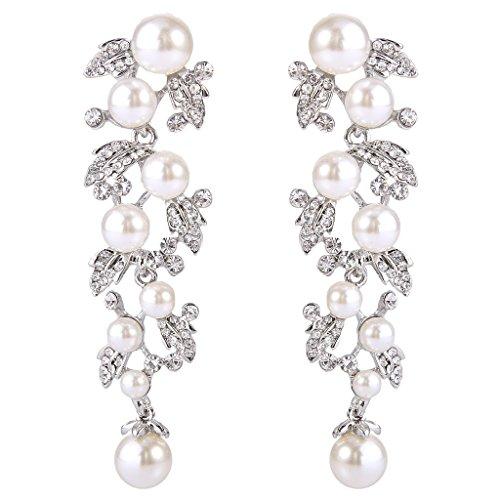 EVER FAITH Women's Austrian Crystal White Simulated Pearl Bridal Leaf Dangle Earrings Clear Silver-Tone