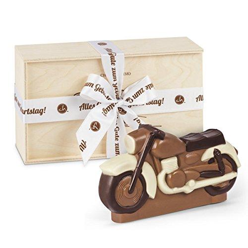 Motorrad aus Schokolade - Motorrad aus Vollmilchschokolade | Holzkästchen mit Geburtstagsschleife | Geburtstagsgeschenk für Liebhaber von Motorrädern | Kinder | Erwachsene | Mann | Frau | Geschenkidee