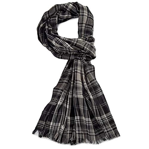 ROYALZ Schal für Herren kariert klassisch 100% Baumwolle Herrenschal weich leicht dünn Karo Muster oder gestreift Halstuch ganzjährig Accessoires mehrfarbig, Farbe:Kariert Schwarz/Grau/Weiß
