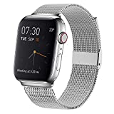 MCORS Compatible with Apple Watch Band 44mm 42mm,Stainless Steel Mesh Metal Loop with Adjustable Closure Replacement Bands for Iwatch Series 5 4 3 2 1 Silver