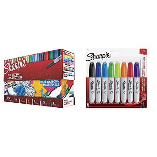 Sharpie 1983255 Permanent Markers Ultimate Collection, Fine and Ultra Fine Points, Assorted Colors, 115 Count & 38250PP Permanent Markers, Chisel Tip, Assorted Colors, 8-Count