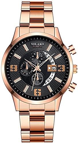 JZDH Reloj de Pulsera, Reloj de Calendario de Banda de Acero Negro de los Hombres. 3ATM Reloj Deportivo Impermeable. Reloj de Cuarzo Digital Dial