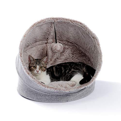 PAWZ Road Katzenhöhle und -haus, faltbar und warm, Haustierhöhle, Katzenbett, Iglu, grau