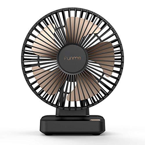 FUNME Ventilador de Mesa 6700mAH Batería Recargable Ventilador Eléctrico de 23 Horas Ventilador Potente Ajustable 90 °Ventilador USB Silencioso Negro para Mujer El Hombre Acampar En Casa