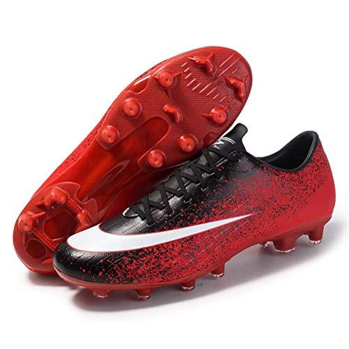 FG Spike-Fußball-Schuhe, Niedrig-Spitze Männliche Und Weibliche Inkjet, Naturrasen Profi-Fußball-Schuhe,Schwarz,6UK/39EU