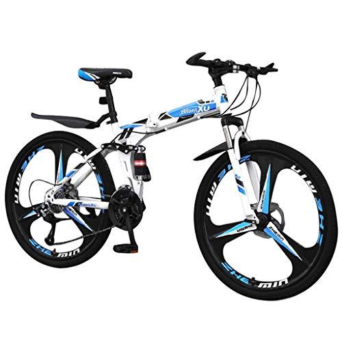 Blingko 26 Zoll Fahrrad Mountainbike MIT 21-Gang Shimano Gabelfederung Doppel Scheibenbremse Jungen-Herren Rad Bike,mit Hinterschutzblech (Blau)