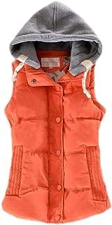 Macondoo Womens Hoodie Parkas Coat Sleeveless Jacket Cotton-Padded Outwear Vest