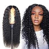 Parrucca donna capelli veri ricci lunghi Brazilian human hair wigs capelli umani parrucca Afro nera lunga con headband deep curly Colore naturale -