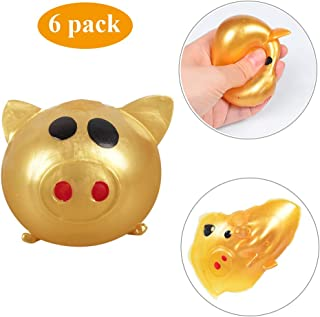 GOBEAUTY Splat Toy Pig Stress Relief Toy Silly Squishy Pig Splat Ball Kawaii Pig Sticky & Stretchy Toy Decompression Squeeze Toy for Adults Kid
