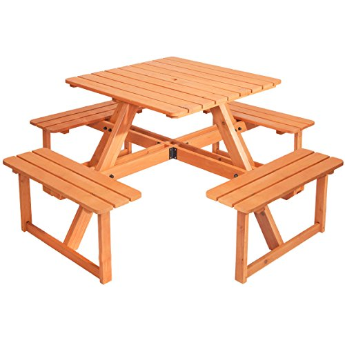 Anself Wooden Table Chairs & Bench Set