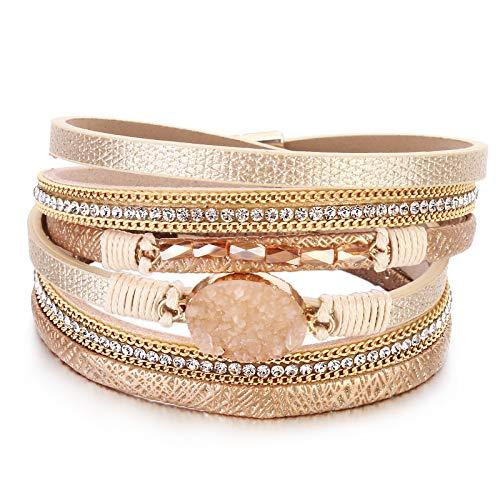 FANCY SHINY Leather Wrap Bracelet Boho Cuff Bracelets Crystal Bead Bracelet with Magnetic Clasp Jewelry Gifts for Women Teen Girls(14.7', Gold)