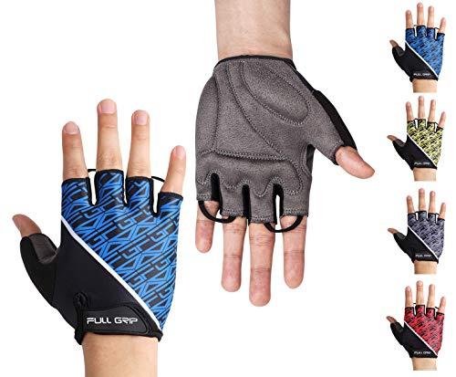 FULL GRIP Halbfinger Fahrradhandschuhe für Männer & Frauen mit stoßdämpfender, Rutschfester und widerstandsfähiger Handinnenfläche für den Radsport inkl. gratis Trainings E-Book (Blau, M)