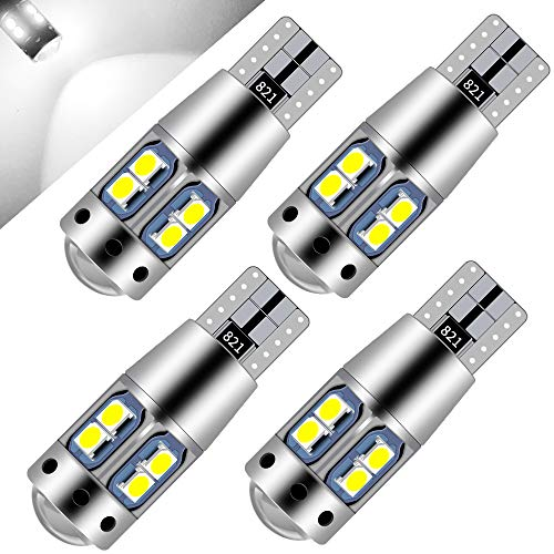 Teguangmei 4Pcs T10 W5W Bombilla CANBUS LED Sin Errores, Blanca 194 168 3030-10SMD Bombilla T10 en Forma de Cuña Para Salpicadero Interior de Coche/Luz Lateral/Luz de Matrícula-12V
