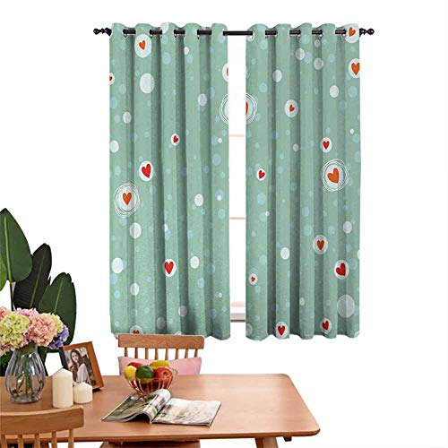Insulated solid grommet top Decor Curtains Sketchy Circles with Hearts and Abstract Dots with Turquoise Backdrop Image Sleeping Environment Turns Black Seafoam Orange White Set of 2 Panels W55'x L62'