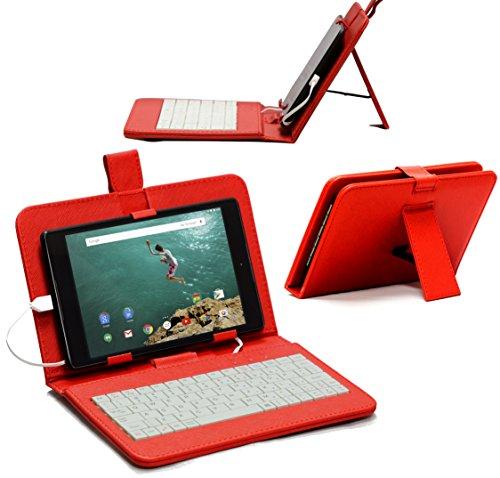 Navitech Rot 10 Zoll bycast Leder Case / Cover mit deutschem Qwertz Keyboard mit Micro USB für das Odys Lux 10 Tablet-PC