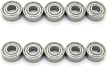 6x15x5mm Skateboard Bearings Steel Miniature Deep Groove Ball Bearing for Model Pack of 10