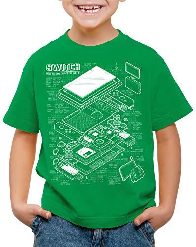 style3 Switch Blaupause T-Shirt für Kinder pro Gamer Konsole Joy-Con, Farbe:Grün, Größe:164