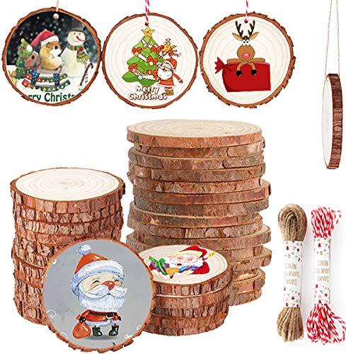 Gudotra Kit 30pz Dischetti di Legno Naturale Decorativi Diametro 6-7cm+20metri Spago Addobbi per Albero di Natale Decorazione Natalizi Fai da Te Segnaposto Matrimonio