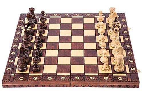 Square - Schach Schachspiel - AMBASADOR LUX - 52 x 52 cm - Schachfiguren & Schachbrett aus Holz
