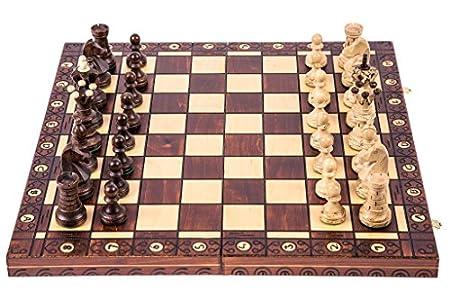 SQUARE GAME Ajedrez de Madera - AMBASADOR Lux - 52 x 52 cm - Piezas de ajedrez & Tablero de ajedrez