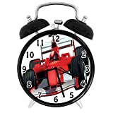 22yiihannz Cars Theme,Alarm Clock-Formula Race Car The Driver Automobile Motorized Sports Strong Engine-Family,Office,Bedroom,Uniquely Decorated Battery Quartz Alarm clock-4inch