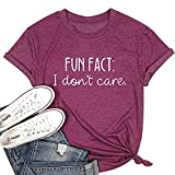 Calvin Fun Fact l Don't Care Letter Print T-Shirt for Women Funny Sayings Graphic Tees-XL Purple