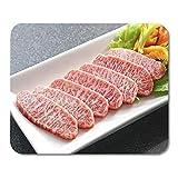 25X30CM Carne roja Premium Wagyu Carne de Res en rodajas en Placa Alfombrilla de ratón