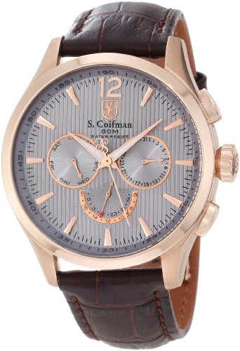 S.Coifman SC0125 Orologio da Polso, Display Cronografo, Uomo, Bracciale Pelle, Nero