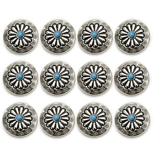 コンチョ ボタン 12個セット ターコイズ 30mm メタルボタン 足つき デージー柄 レザークラフト アクセサリー 手芸 (タイプA)